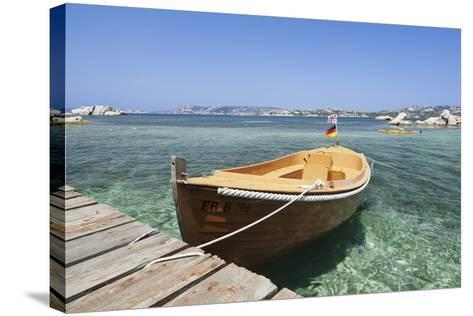 Boat at a Jetty, Palau, Sardinia, Italy, Mediterranean, Europe-Markus Lange-Stretched Canvas Print