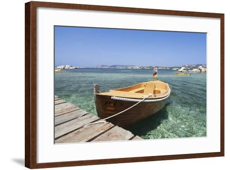 Boat at a Jetty, Palau, Sardinia, Italy, Mediterranean, Europe-Markus Lange-Framed Art Print