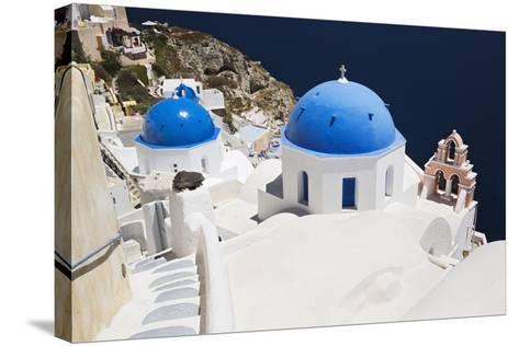 Church with Blue Dome with View of the Aegean Sea, Oia, Santorini, Cyclades, Greek Islands-Markus Lange-Stretched Canvas Print