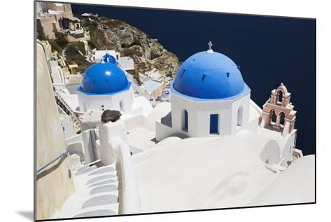 Church with Blue Dome with View of the Aegean Sea, Oia, Santorini, Cyclades, Greek Islands-Markus Lange-Mounted Photographic Print