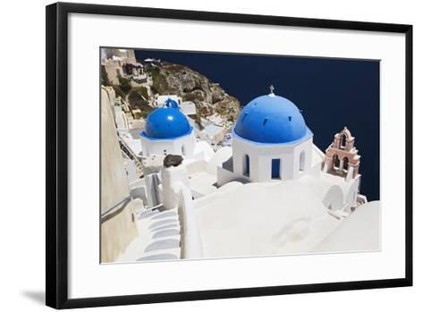 Church with Blue Dome with View of the Aegean Sea, Oia, Santorini, Cyclades, Greek Islands-Markus Lange-Framed Art Print