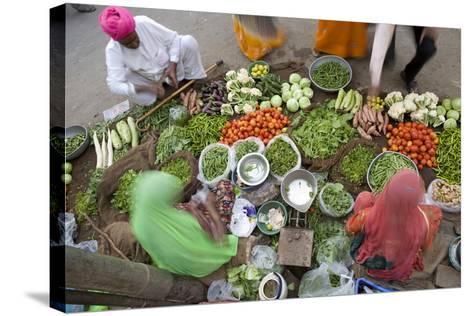 Vegetable Market, Jaisalmer, Western Rajasthan, India, Asia-Doug Pearson-Stretched Canvas Print