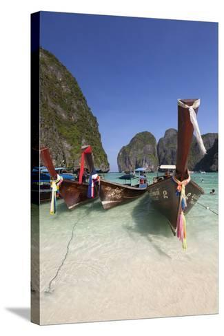 Maya Bay with Long-Tail Boats, Phi Phi Lay, Krabi Province, Thailand, Southeast Asia, Asia-Stuart Black-Stretched Canvas Print
