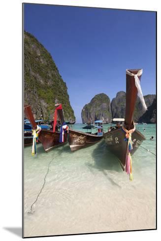 Maya Bay with Long-Tail Boats, Phi Phi Lay, Krabi Province, Thailand, Southeast Asia, Asia-Stuart Black-Mounted Photographic Print