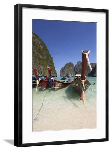 Maya Bay with Long-Tail Boats, Phi Phi Lay, Krabi Province, Thailand, Southeast Asia, Asia-Stuart Black-Framed Art Print