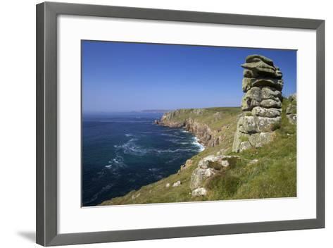 Looking to Sennen Cove from Lands End, Summer Sunshine, Cornwall, England, United Kingdom, Europe-Peter Barritt-Framed Art Print