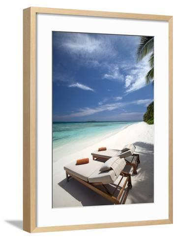 Lounge Chairs on Tropical Beach, Maldives, Indian Ocean, Asia-Sakis Papadopoulos-Framed Art Print