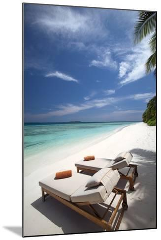 Lounge Chairs on Tropical Beach, Maldives, Indian Ocean, Asia-Sakis Papadopoulos-Mounted Photographic Print