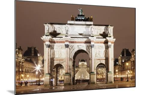 Illuminated Arc De Triomphe Du Carousel and Louvre Museum-Markus Lange-Mounted Photographic Print