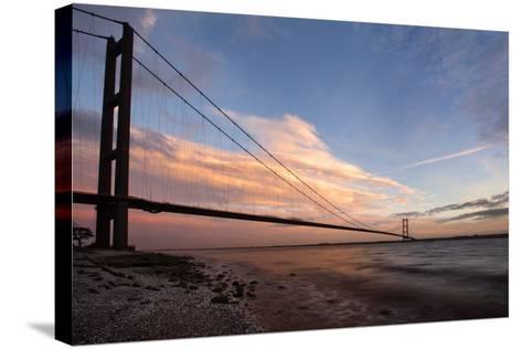 The Humber Bridge at Dusk, East Riding of Yorkshire, Yorkshire, England, United Kingdom, Europe-Mark Sunderland-Stretched Canvas Print