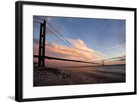 The Humber Bridge at Dusk, East Riding of Yorkshire, Yorkshire, England, United Kingdom, Europe-Mark Sunderland-Framed Art Print