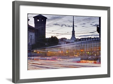 Traffic Rushes Through Piazza Castello, Turin, Piedmont, Italy, Europe-Julian Elliott-Framed Art Print