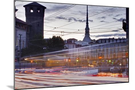 Traffic Rushes Through Piazza Castello, Turin, Piedmont, Italy, Europe-Julian Elliott-Mounted Photographic Print