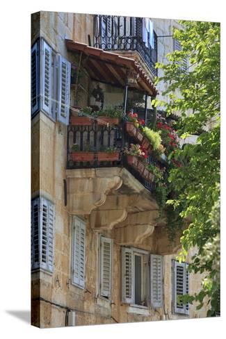 Flower Covered Balcony on Old Stone House, Bol, Brac Island, Dalmatian Coast, Croatia, Europe-John Miller-Stretched Canvas Print