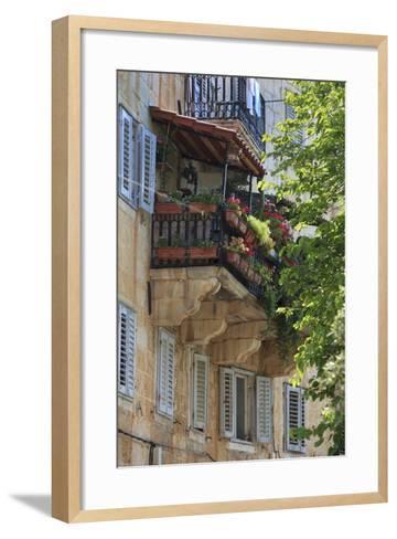 Flower Covered Balcony on Old Stone House, Bol, Brac Island, Dalmatian Coast, Croatia, Europe-John Miller-Framed Art Print