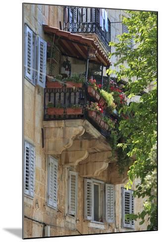 Flower Covered Balcony on Old Stone House, Bol, Brac Island, Dalmatian Coast, Croatia, Europe-John Miller-Mounted Photographic Print