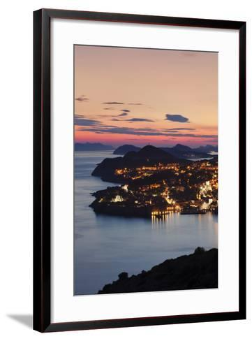 High Angle View of Dubrovnik at Sunset, UNESCO World Heritage Site, Dalmatia, Croatia, Europe-Markus Lange-Framed Art Print