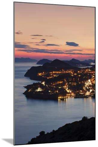 High Angle View of Dubrovnik at Sunset, UNESCO World Heritage Site, Dalmatia, Croatia, Europe-Markus Lange-Mounted Photographic Print