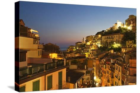 Riomaggiore Rooftops and the Castle at Dusk-Mark Sunderland-Stretched Canvas Print
