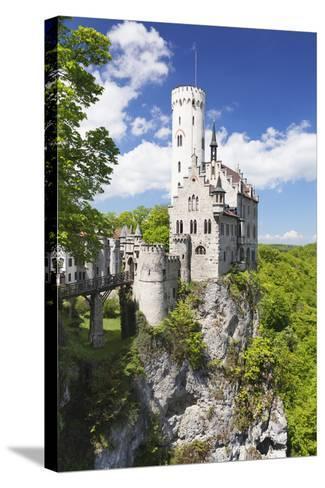 Lichtenstein Castle in Spring, Swabian Alb, Baden Wurttemberg, Germany, Europe-Markus Lange-Stretched Canvas Print