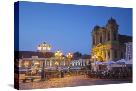 Roman Catholic Cathedral and Outdoor Cafes in Piata Unirii at Dusk-Ian Trower-Stretched Canvas Print