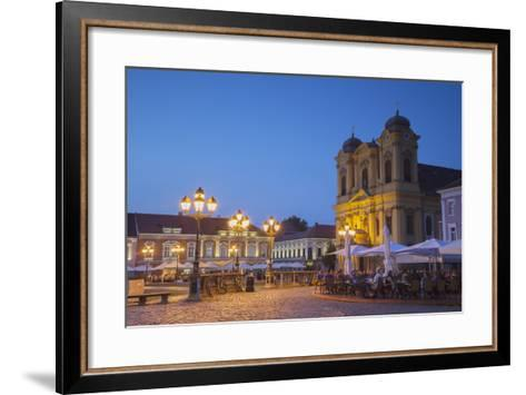 Roman Catholic Cathedral and Outdoor Cafes in Piata Unirii at Dusk-Ian Trower-Framed Art Print