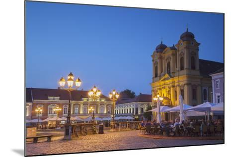 Roman Catholic Cathedral and Outdoor Cafes in Piata Unirii at Dusk-Ian Trower-Mounted Photographic Print