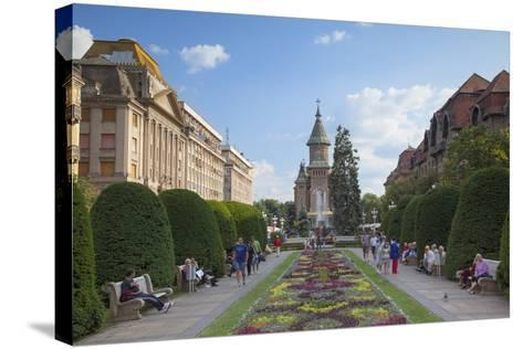 Metropolitan Cathedral in Piata Victoriei, Timisoara, Banat, Romania, Europe-Ian Trower-Stretched Canvas Print