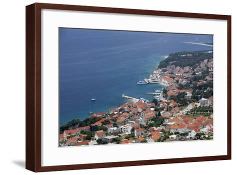 High View of Bol and Harbour, Brac Island, Dalmatian Coast, Croatia, Europe-John Miller-Framed Art Print