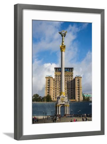 Independence Monument on the Maidan Nezalezhnosti in the Center of Kiev (Kyiv), Ukraine, Europe-Michael Runkel-Framed Art Print
