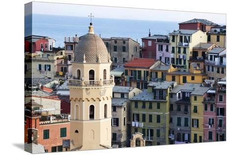 Santa Margherita Church and Colourful Buildings at Dusk-Mark Sunderland-Stretched Canvas Print