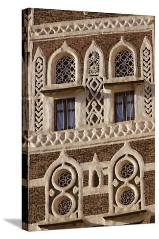 Architectural Detail, Old City of Sanaa, UNESCO World Heritage Site, Yemen, Middle East-Bruno Morandi-Stretched Canvas Print