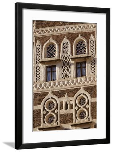 Architectural Detail, Old City of Sanaa, UNESCO World Heritage Site, Yemen, Middle East-Bruno Morandi-Framed Art Print