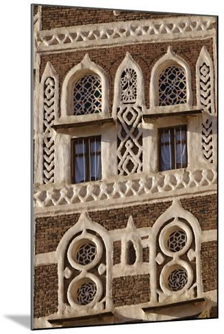 Architectural Detail, Old City of Sanaa, UNESCO World Heritage Site, Yemen, Middle East-Bruno Morandi-Mounted Photographic Print