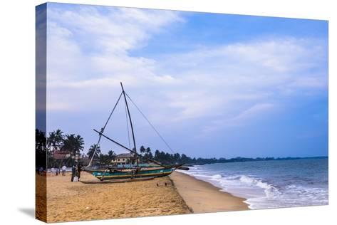 Traditional Outrigger Fishing Boat (Oruva), Negombo Beach, Negombo, Sri Lanka, Asia-Matthew Williams-Ellis-Stretched Canvas Print