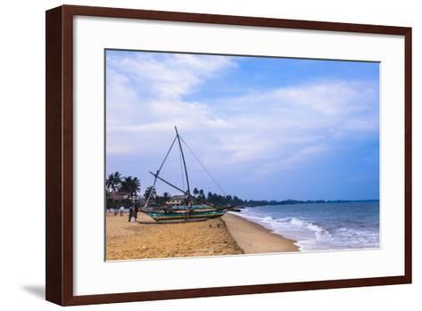 Traditional Outrigger Fishing Boat (Oruva), Negombo Beach, Negombo, Sri Lanka, Asia-Matthew Williams-Ellis-Framed Art Print