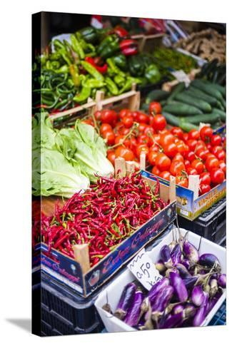Chillies and Tomatoes for Sale at Capo Market-Matthew Williams-Ellis-Stretched Canvas Print