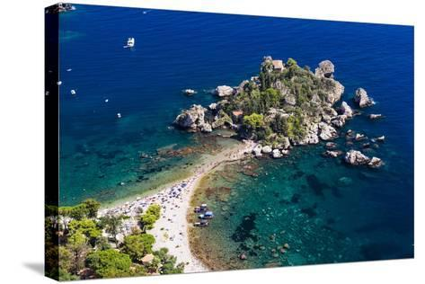 Tourists on Isola Bella Beach, Taormina, Sicily, Italy, Mediterranean, Europe-Matthew Williams-Ellis-Stretched Canvas Print