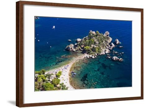 Tourists on Isola Bella Beach, Taormina, Sicily, Italy, Mediterranean, Europe-Matthew Williams-Ellis-Framed Art Print