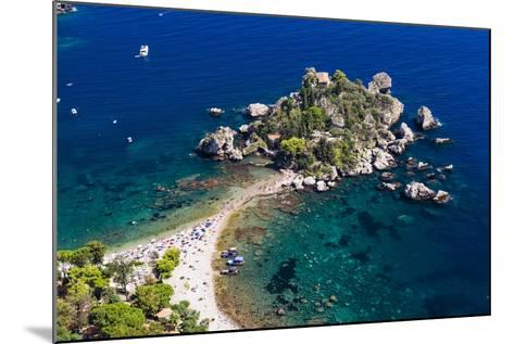 Tourists on Isola Bella Beach, Taormina, Sicily, Italy, Mediterranean, Europe-Matthew Williams-Ellis-Mounted Photographic Print