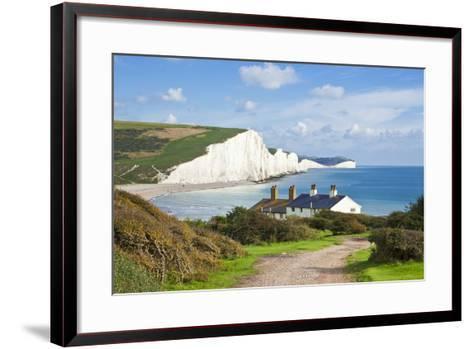 The Seven Sisters Chalk Cliffs and Coastguard Cottages-Neale Clark-Framed Art Print