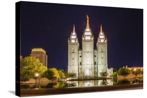 The Salt Lake Temple at Night-Michael Nolan-Stretched Canvas Print