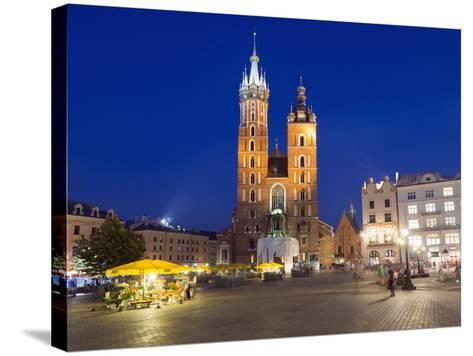 Rynek Glowny (Town Square) and St. Mary's Church-Christian Kober-Stretched Canvas Print