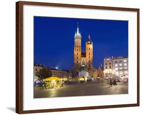 Rynek Glowny (Town Square) and St. Mary's Church-Christian Kober-Framed Art Print