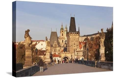 Charles Bridge and Mala Strana Bridge Tower in Morning Light-Markus Lange-Stretched Canvas Print