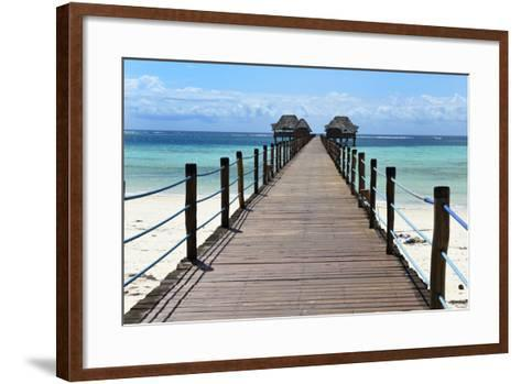 Hotel Jetty, Bwejuu Beach, Zanzibar, Tanzania, Indian Ocean, East Africa, Africa-Peter Richardson-Framed Art Print