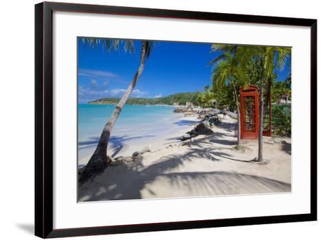 Beach and Red Telephone Box-Frank Fell-Framed Art Print