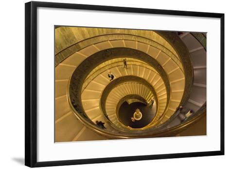 Spiral Stairs of the Vatican Museums, Designed by Giuseppe Momo in 1932, Rome, Lazio, Italy, Europe-Carlo Morucchio-Framed Art Print
