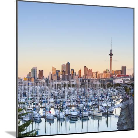 Westhaven Marina and City Skyline Illuminated at Sunset-Doug Pearson-Mounted Photographic Print