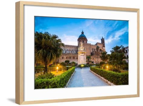 Palermo Cathedral (Duomo Di Palermo) at Night, Palermo, Sicily, Italy, Europe-Matthew Williams-Ellis-Framed Art Print